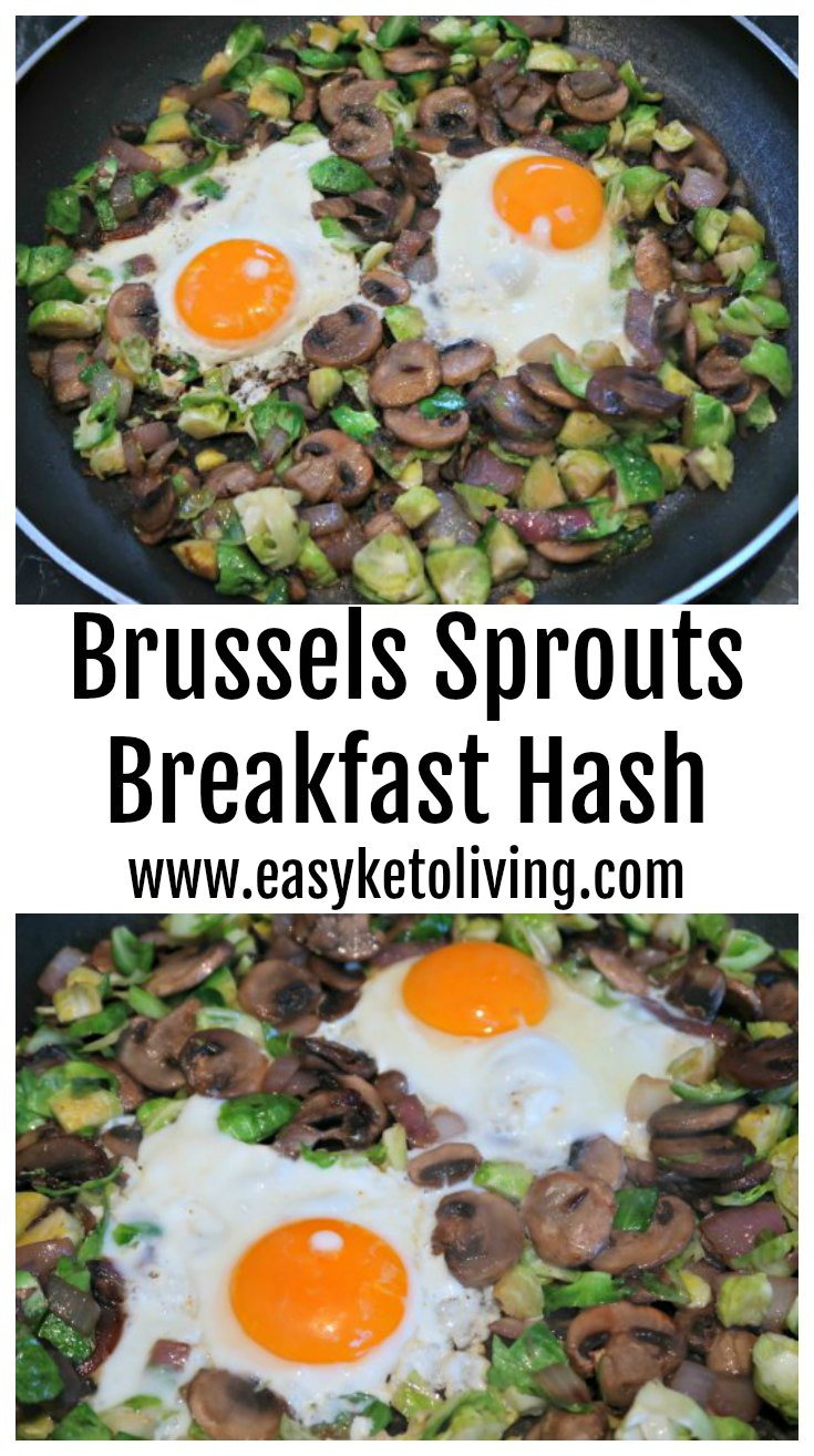 Brussels Sprouts Breakfast Hash Recipe - Easy low carb keto recipes - perfect fried eggs and veggies dish for breakfast or breakfast for dinners.