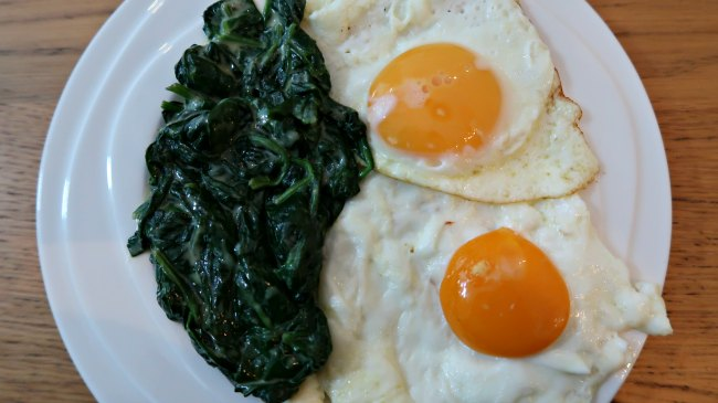 Fried eggs and creamed spinach on a plate