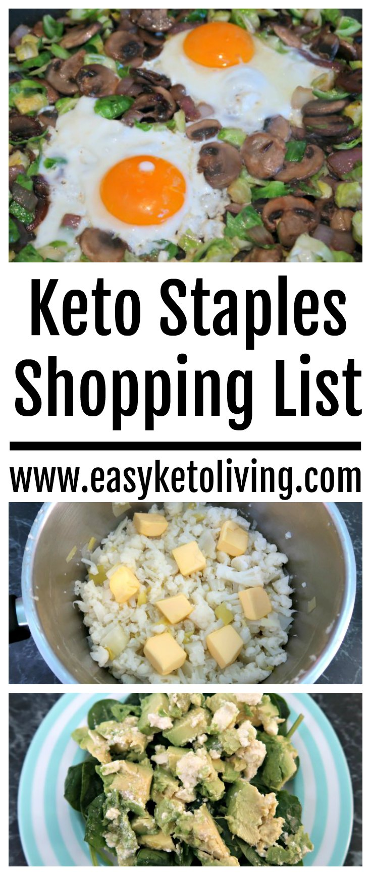 Keto Staples Shopping List - A List of Low Carb items that are essential for success with a Ketogenic Diet. Including a list of fats, proteins and carbs.