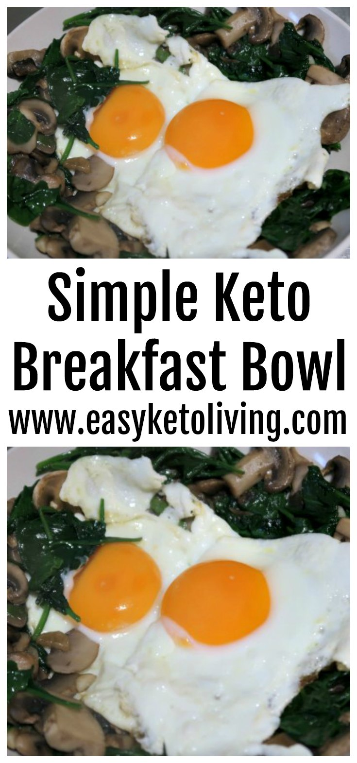 Simple Keto Breakfast Bowl Recipe - Low Carb Garlic Veggies and Fried Eggs Breakfast Idea